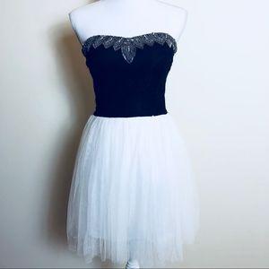 Beaded Lace Bustier Tutu Dress